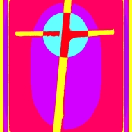 Cardboard Cross yellow pink