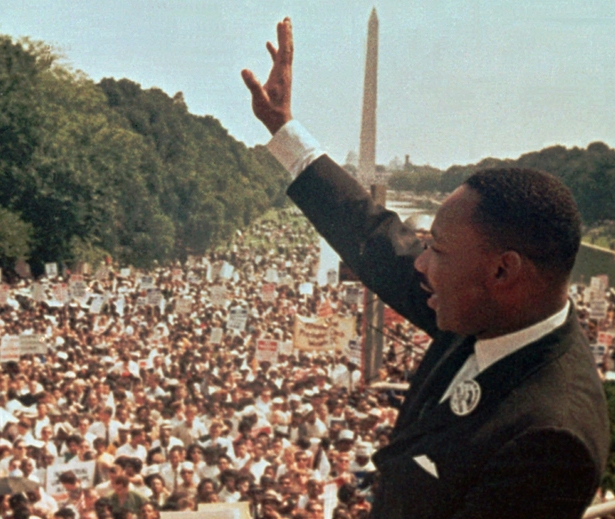 """peeps - pol, In this August 28, 1963 file photo, Dr. Martin Luther King Jr. acknowledges the crowd at the Lincoln Memorial for his """"I Have a Dream"""" speech during the March on Washington. (AP Photo:File)"""