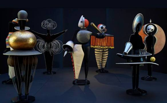 scu - art Oskar Schlemmer, Figurines of the Triadic Ballet, Bauhaus , 1922. Mixed materials