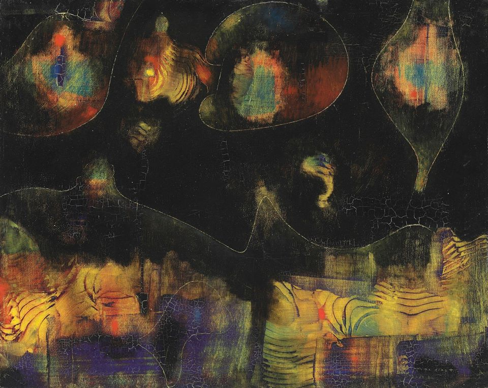 artm - Max Ernst , Le Gulf Stream, 1954 oil with grattage and sgraffito on panel, 32.8 x 41.2 cm