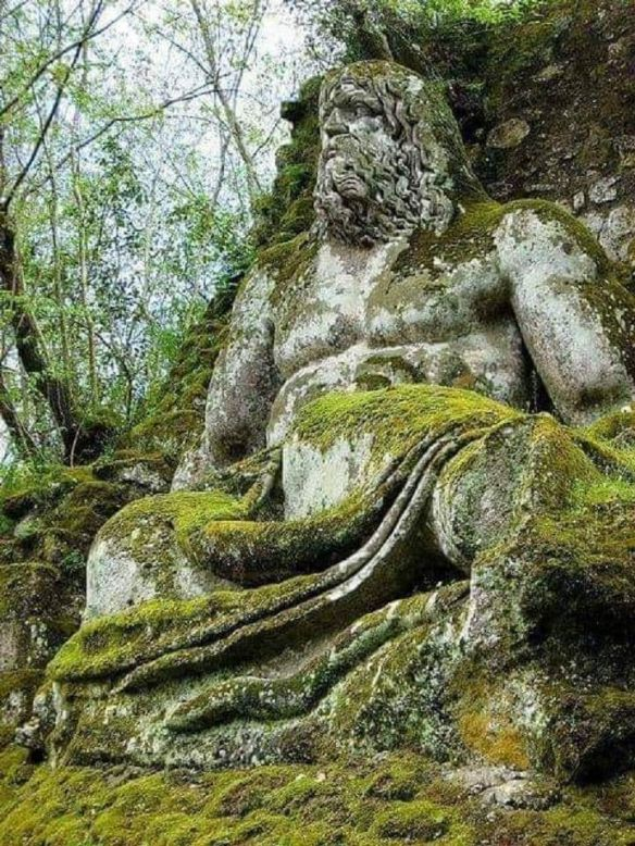scu - Statue of Neptune in the Sacred Forest, also known as Park of the Monsters in Bomarzo, Italy.-X