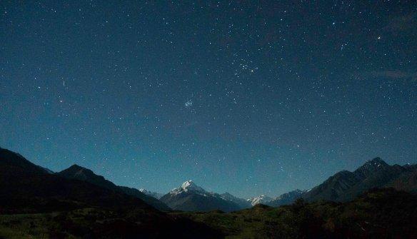 sp - Ian Griffin #matariki over Aoraki. The moon illuminated the scene